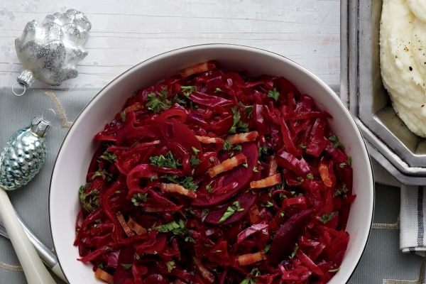 The festive colour of our braised cabbage and beets recipe will dazzle your guests! Photo by Jeff Coulson.