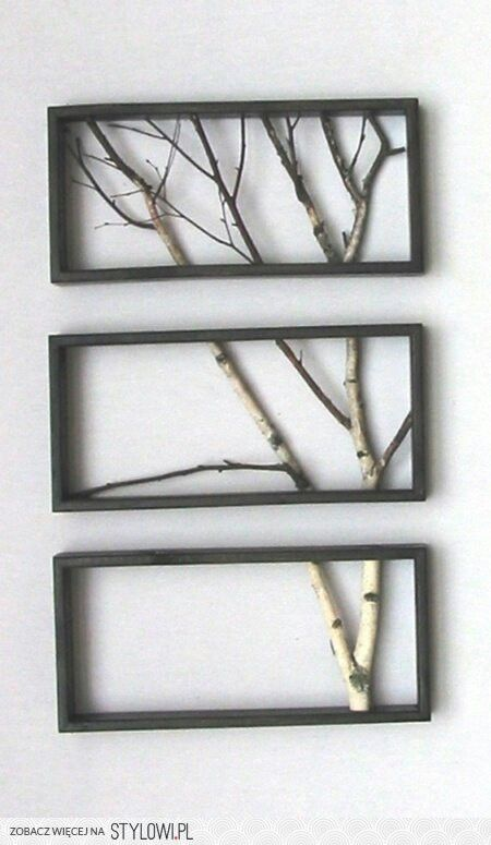 Tree branch art using quaking aspen and cedar fence boards for frames.