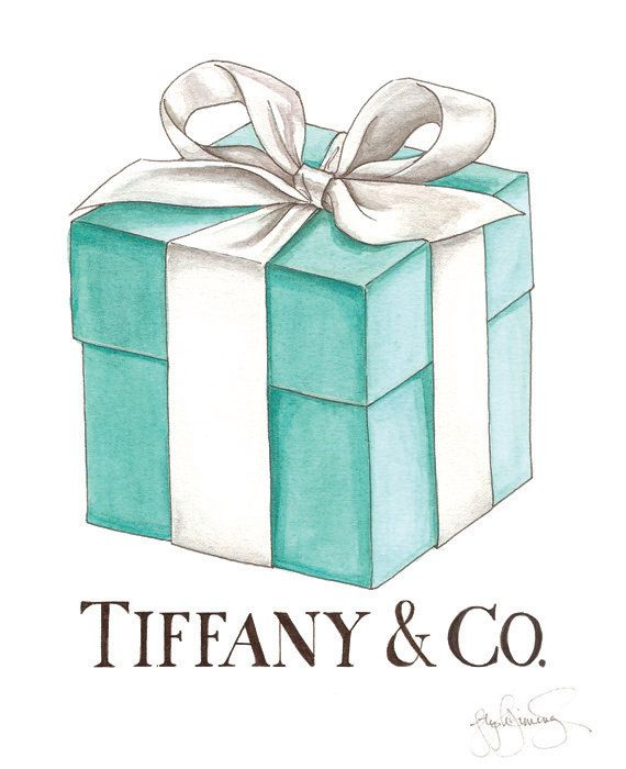 Tiffany's Box and Ribbon Watercolor Fashion by StephanieJimenez