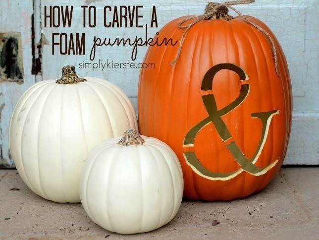 Carved Foam Pumpkin by @Simply Kierste {simplykierste.com} #MPumpkins