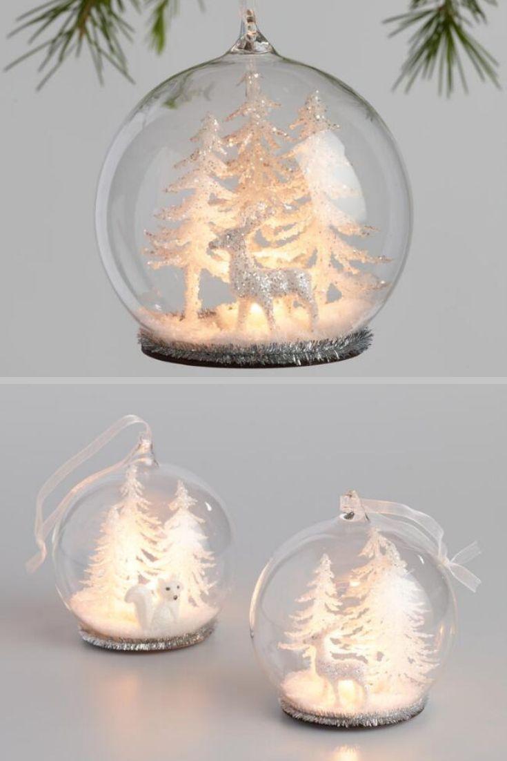 Glass Cloche Winter Scene Led Light Up Ornaments Glass Cloche Ornament Set Silver Tinsel