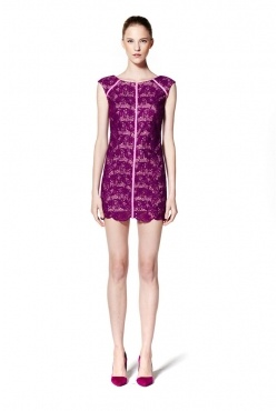 White Suede - Scallop lace mini dress violet. Borrow for $89