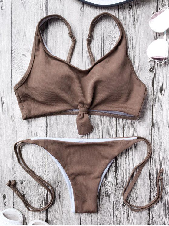 $13.99 Cami Bralette String Bikini Set - COFFEE S
