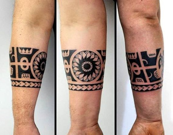Armband Mens Hawaiian Tribal Forearm Tattoo Ideas