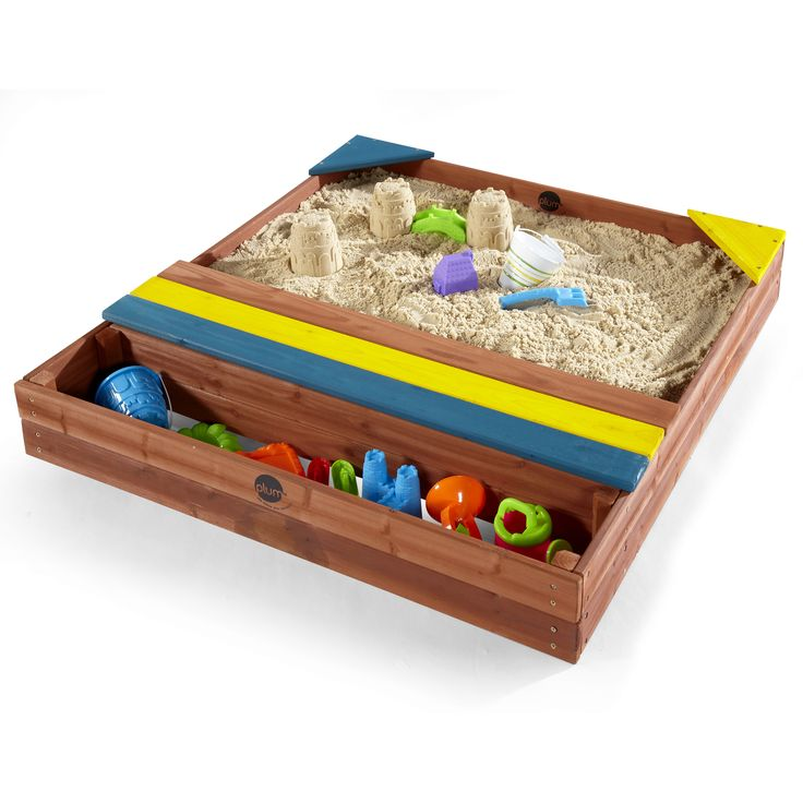 PLUM STORE-IT WOODEN SAND PIT  Build stately sand castles, construct towering turrets and don't forget to dig out the moat!  Plum's Store-it Wooden Sand Pit is perfect for encouraging traditional sand play.   With a built-in storage space for buckets, spades and sand toys, this wooden sand pit it is ideal for grown-ups too.   Suitable for little ones aged 18 months and over.