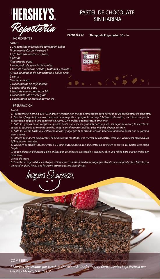 Hoy compartimos contigo una deliciosa receta preparada con nuestra Cocoa Hershey's®. I really need to find my Spanish dictionary