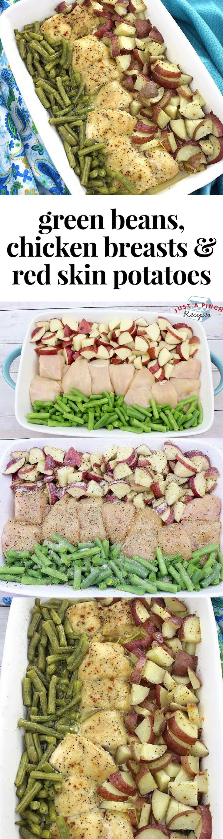 Easy dinner recipe alert! This sheet pan chicken, green bean and red skin potatoes recipe is an easy weeknight meal the entire family will love! #chickendinner #chickenrecipes #sheetpan #easyrecipe #easydinner #dinnerrecipes #dinnertime #familydinner