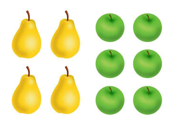 Раскраски Фрукты яблоко банан груша апельсин слива