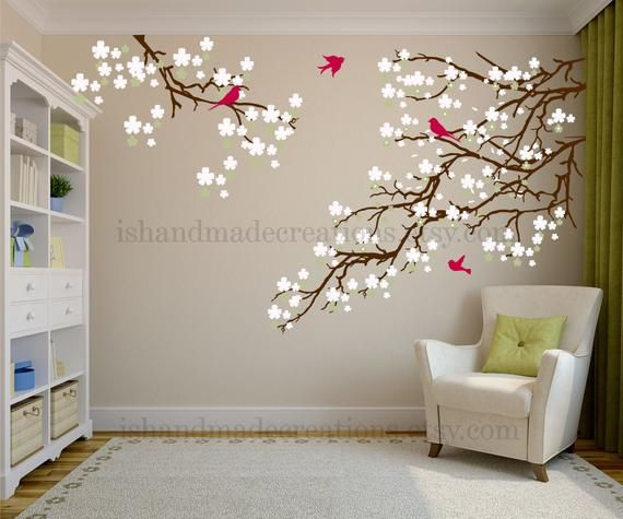 091f4ea48 Living room wall decals - Cherry blossom decal - Cherry blossom wall decal  - flowers wall decal - wall decals vinyl nature wall decal