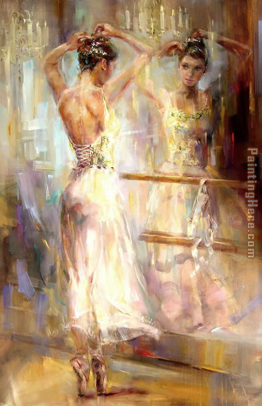 "Anna Razumovskaya, Soul Reflection.  ""…You are just drawing and that is all… simply not thinking of anything definite. The moment you start thinking… and that's it- unnecessary stroke, unnecessary detail. God knows how it all happens. Pleasure, passion, joy here are characteristics of this process."""