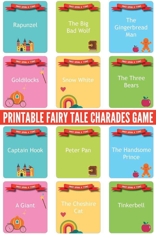 Printable Fairy Tale Charades Game: Perfect for family game night, class groups and youth groups