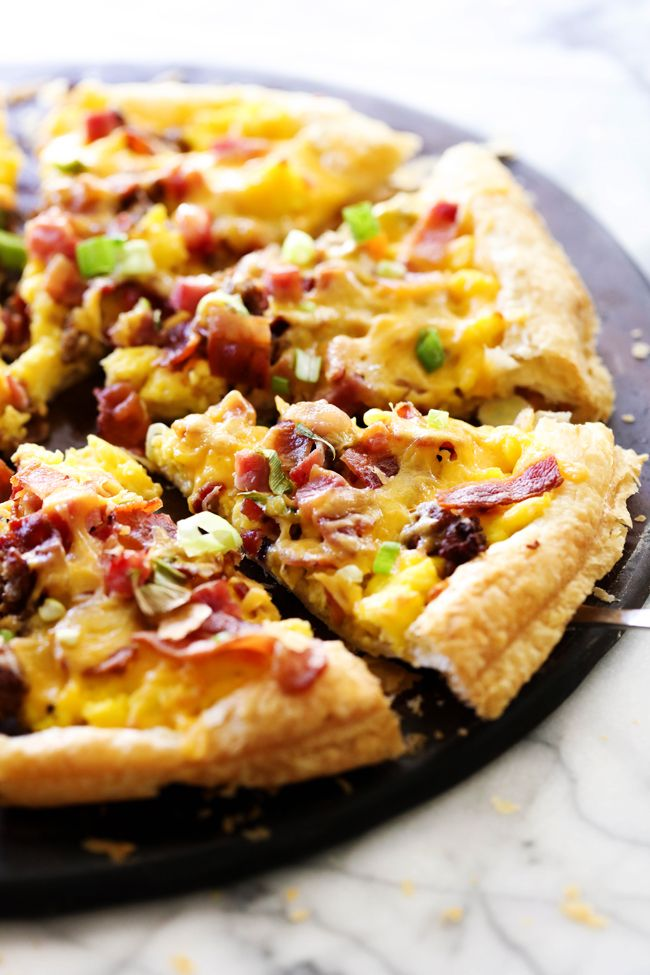 This Puff Pastry Breakfast Pizza is SO easy to make and is such a crowd pleaser! It has everything you love about breakfast topped on a delicious buttery flaky crust!   Chef in Training