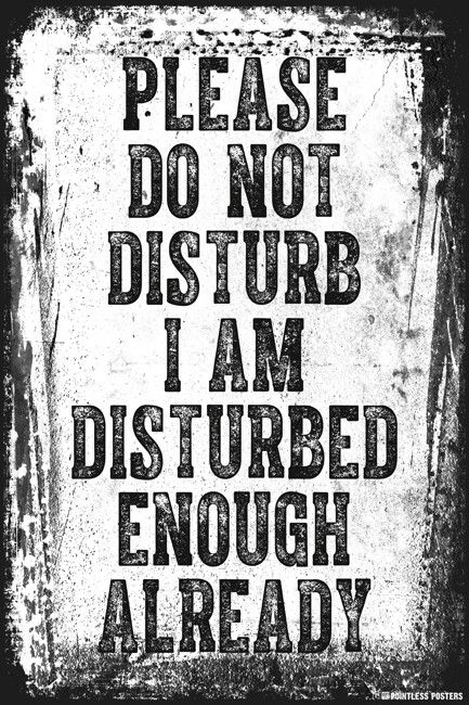 Please Do Not Disturb I Am Disturbed Enough Already Poster