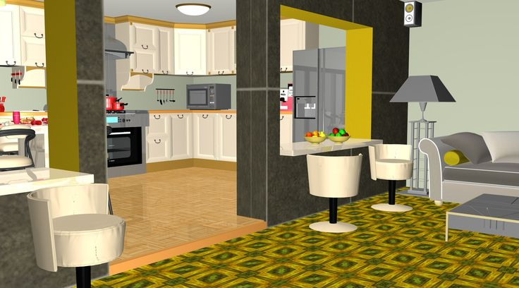 A 3d kitchen and dining room view from: the living room and family room. Graphics from an article tittle: Presenting a 3d kitchen hostess-centric design concept for home space integration and 3d food models by 3D-Cuisines.