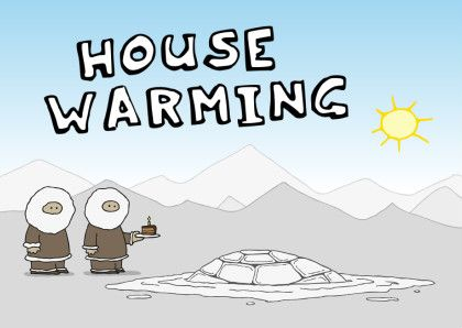 Unieke en grappige uitnodiging voor een housewarming. Twee eskimo's staan naast hun gesmolten iglo met een stuk taart. Inclusief ontworpen binnenzijde.  #housewarming #verhuiskaart #verhuizen #samenwonen #uitnodiging #kaartje2go