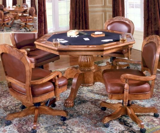 Beech Wood Poker Table with Matching Chairs : This game room furniture will make a statement at your next poker game. It can also be used as both a game or dining table. You will have solid surface on one side and game playing surface, chip and drink holders on the other side.  Check Out : http://www.christianofurniture.com/tgameroom2.htm  #Gamerooms #Furniture