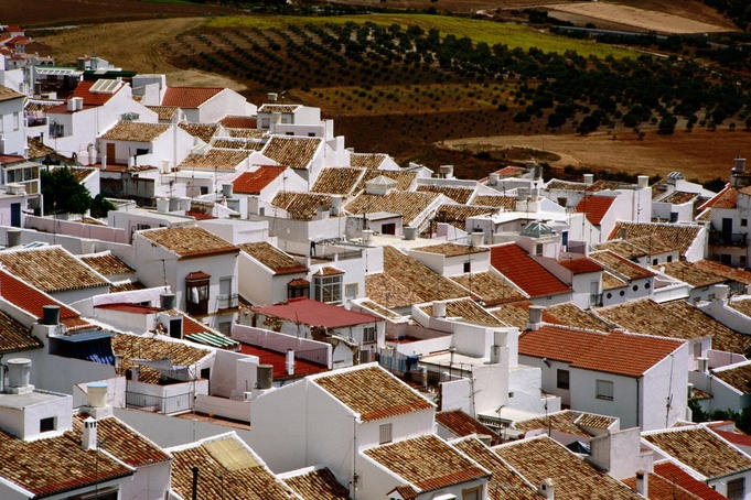 aerial view of the village of olvera, in andalucia, spain #andalucia