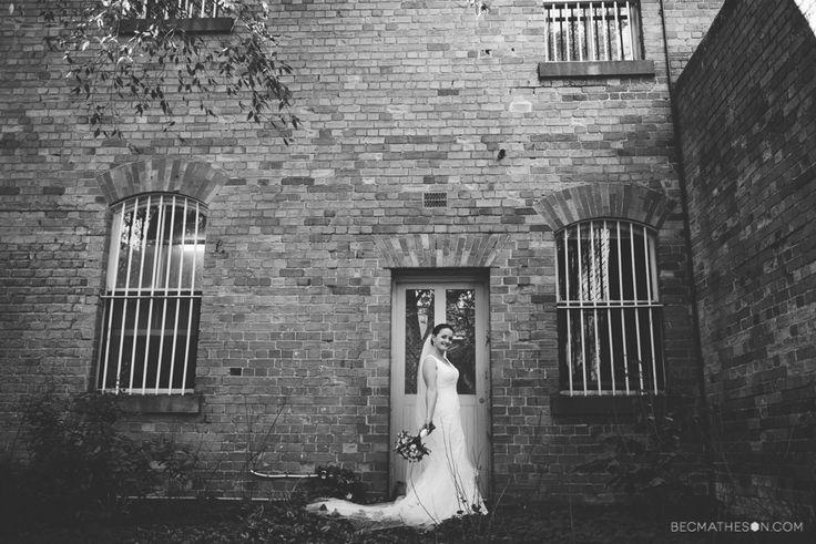 Industrial wedding photo. Ballarat wedding. Old building wedding photography.  www.becmatheson.com