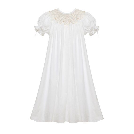 boutique * White Smocked Heirloom bishop Dress NEW