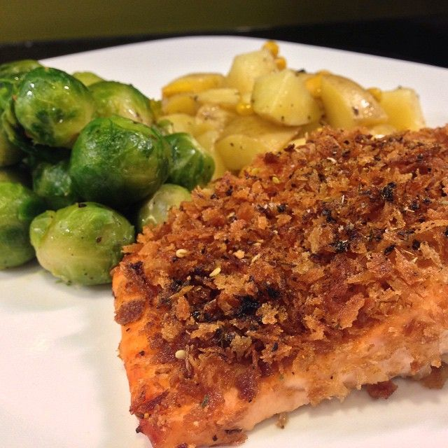 Panko crusted salmon with Brussel sprouts and pan fried corn and potatoes! #nofilter #nailedit #homemade #homecooking #homecheflife #salmon #fish #foodie #baked #qtipkitchen #madefromscratch #yum #latergram
