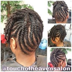 Flat twist updo with two strand twists. www.touchofheavensalon.com