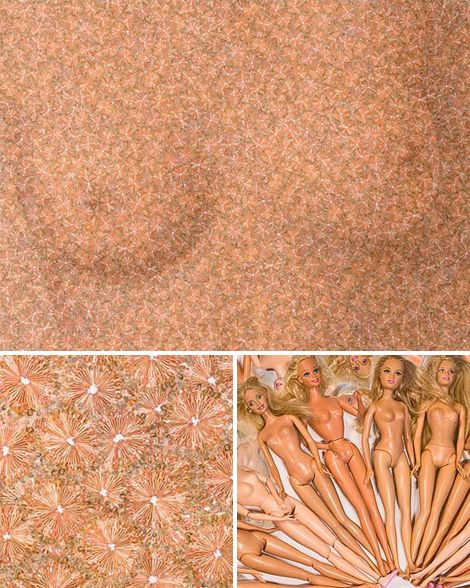 barbie dolls, 2008 - depicts 32,000 barbies, equal to the number of elective breast augmentation surgeries performed, monthly in the US in 2006. By photographer Chris Jordan.