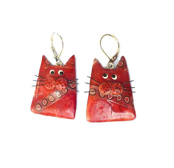 Red Cats earrings artisan made cats jewelryfun polymer clay