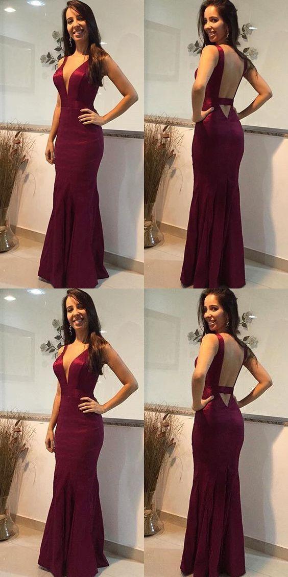 Open Back Mermaid Evening Dress, Sexy Long Prom Dress, Formal Gown P0303 #promdresses #longpromdress #2018promdresses #fashionpromdresses #charmingpromdresses #2018newstyles #fashions #styles #hiprom #burgundyprom #mermaid