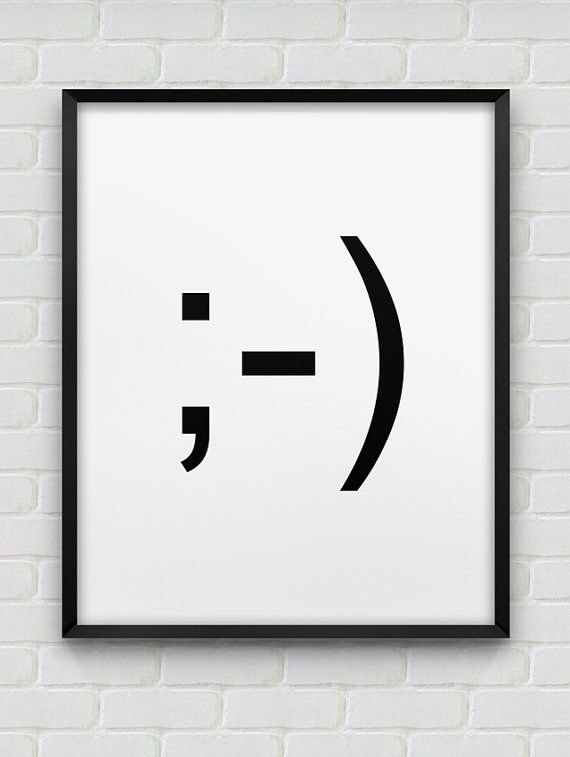printable wink emoticon poster // instant download print // black white home decor // printable wink wall art // ;-)