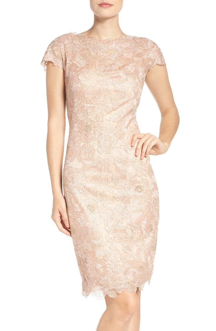 Blush Wedding Dress Petite : Blush lace mother of the bride dress embroidered mesh sheath