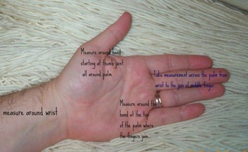 How to measure for custom-made naalbinding wool fingerless mitts.