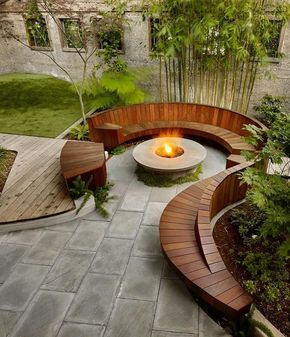 contemporary landscaping. sweeping curve modern bench