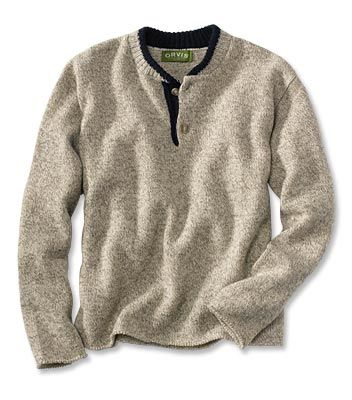 mens wool clothing for hunting | two button wool pullover sweater this men s wool sweater is just as ...