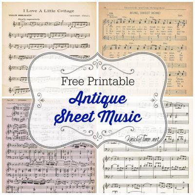 Antique Printable Sheet Music for Valentine's Day via KnickofTime.net