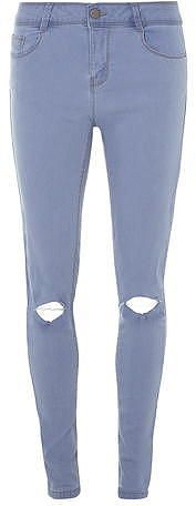 Womens light blue grey bailey bleach ripped ultra stretch super skinny jeans from Dorothy Perkins - £10 at ClothingByColour.com