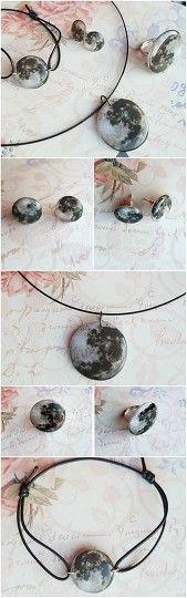One Moon Set #moon #jewelry #set #bracelet #ring #earrings #necklace