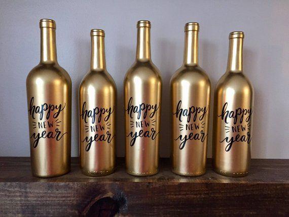 Happy New Year Wine Bottle Vases // Classy Metalic Gold ...