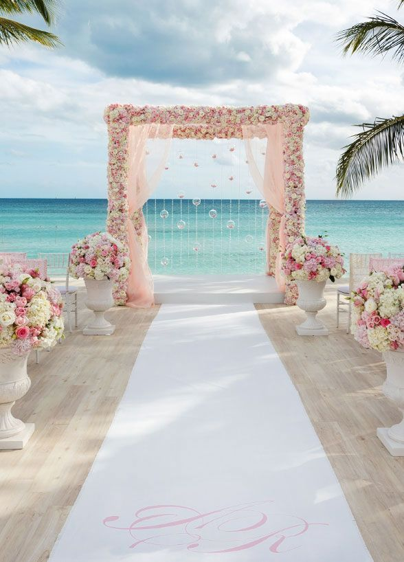 small beach wedding ceremony ideas%0A This bride u    s vision of a romantic pink and gold wedding came to life on the  beach