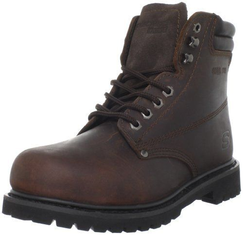 "Skechers For Work Women's Raffish Boot Skechers. $69.95. Extra padded collar and tongue. Rubber sole. A sturdy work boot with satisfying comfort. Shaft measures approximately 6"" from arch. Heel measures approximately 1"". Soft fabric lining. Nubuck leather upper. leather. Tie closure"