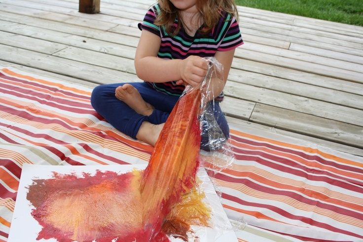 cling wrap paintings