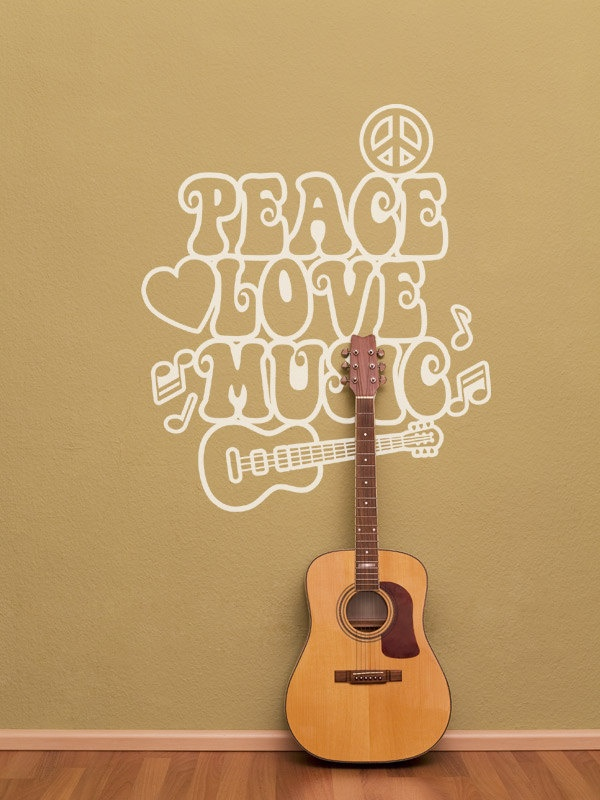 Floral Guitar Music Wall Art Decals Wall Stickers - Musical ...