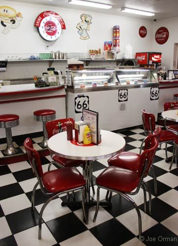 Inside Twisters: vintage soda fountain decor.