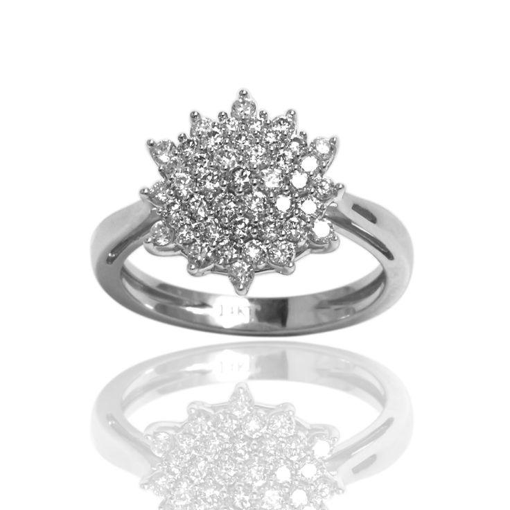 Sonia Bitton 14K Gold 3/4 Carat Diamond Starburst Ring