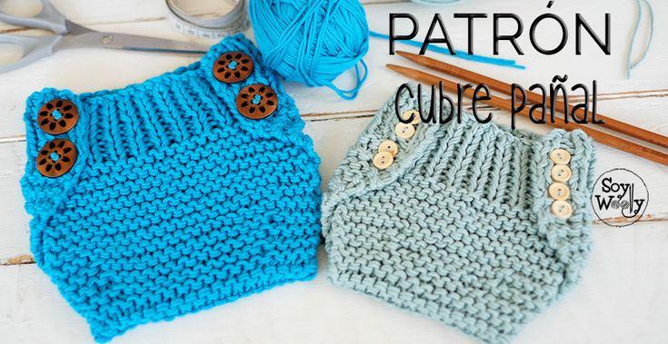 Con saber tejer el punto derecho y revés podrás hacer cubrepañal, braguita, calzón de punto (dos agujas): patrón fácil, dos tallas (bebé 0-3 meses, y de 3-6 meses)