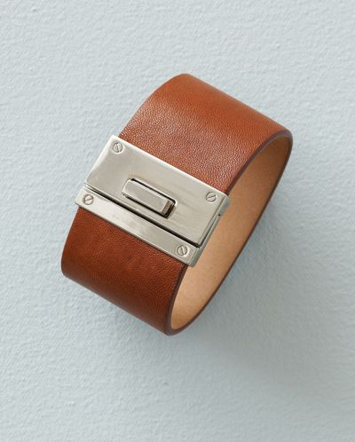 Poetry - Leather Cuff - A great fashion detail, this leather cuff has a chunky interlocking clasp for a hint of equestrian styling.