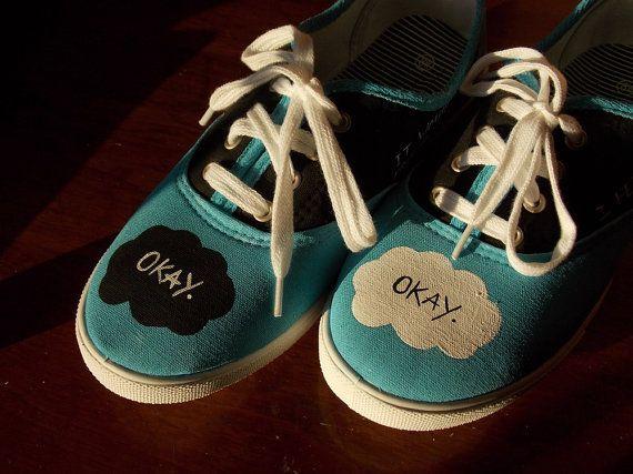 TFiOS Painted Shoes - Quotes - Fandom - John Green - Fan Art - The Fault in Our Stars - Hazel Grace - Augustus Waters - OKAY - DFTBA - Nerd on Etsy, $65.00