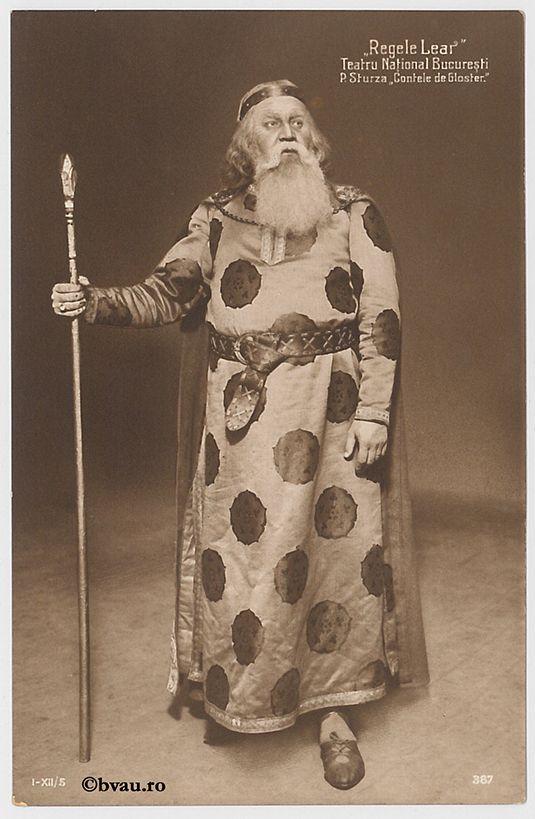 """P. Sturdza în """"Regele Lear"""", Bucureşti. Imagine din colecțiile Bibliotecii """"V.A. Urechia"""" Galați."""