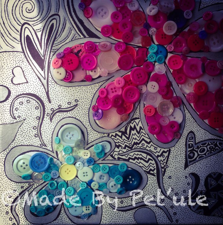 Made By Peťule  Flowers zentangle and buttons