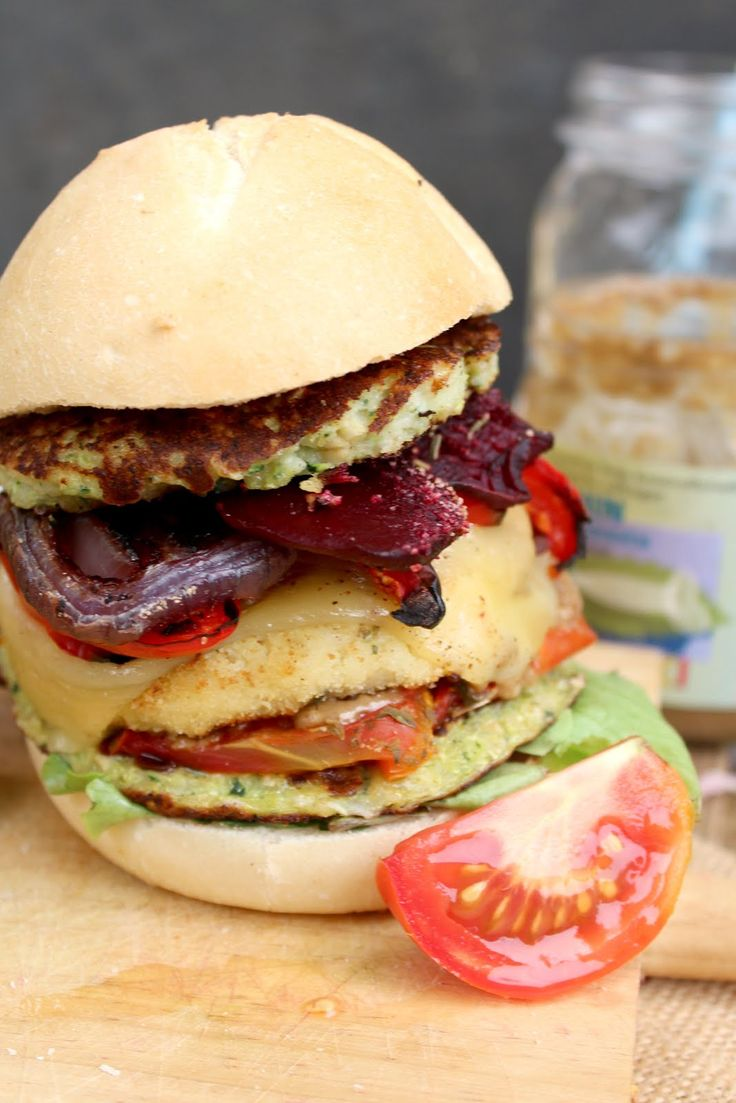 Cauliflower, Zucchini Fritters & Beet Chips Monster Burgers: the best veggie burgers you'll ever try!