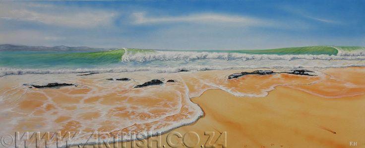 J-Bay. The never-ending tubular waves of Jeffreys Bay. Original acrylic on canvas. H620 x w1520mm.